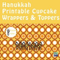 Hanukkah Cupcake Wrappers + Toppers- Orange